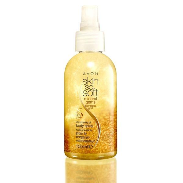 Skin So Soft - Złocisty blask - mineralny olejek w sprayu z połyskującymi drobinkami